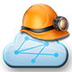 FactMiners icon - Miners helmet on a Fact Cloud