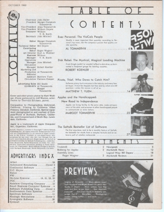 V1.02 Softalk Magazine contents page, October 1980