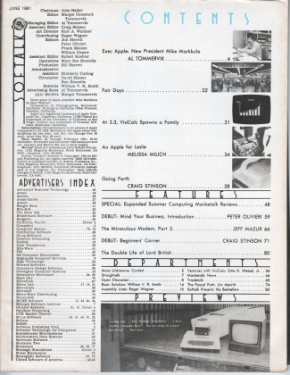 V1.10 Softalk Magazine contents page, June 1981