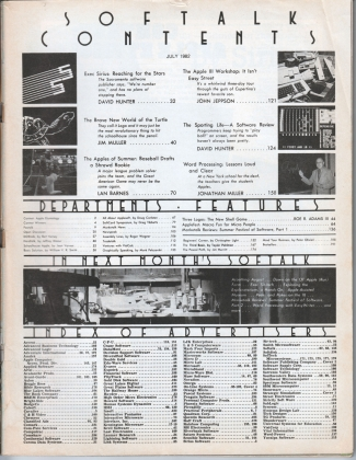 V2.11 Softalk Magazine contents page, July 1982
