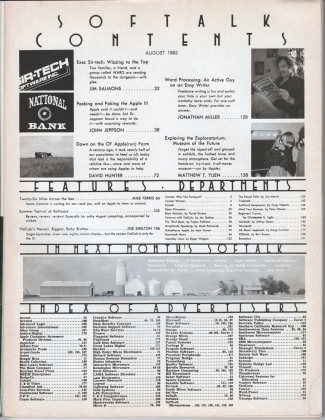 V2.12 Softalk Magazine contents page, August 1982